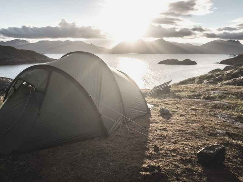 Tent overlooking fjord in Norway