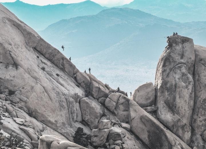 Hikers Slacklining in Sierras