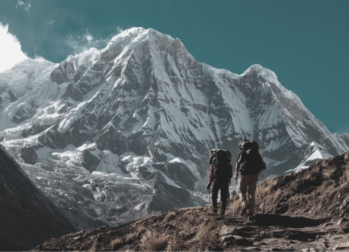 Hikers climbing in the nepal