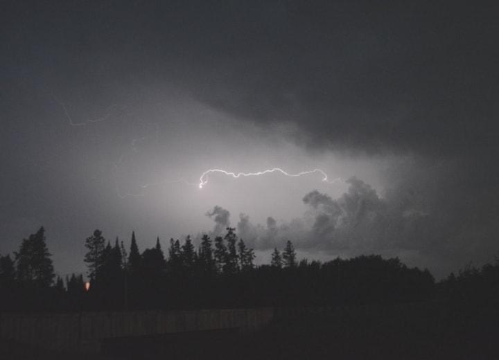 Lightning Strike above forest