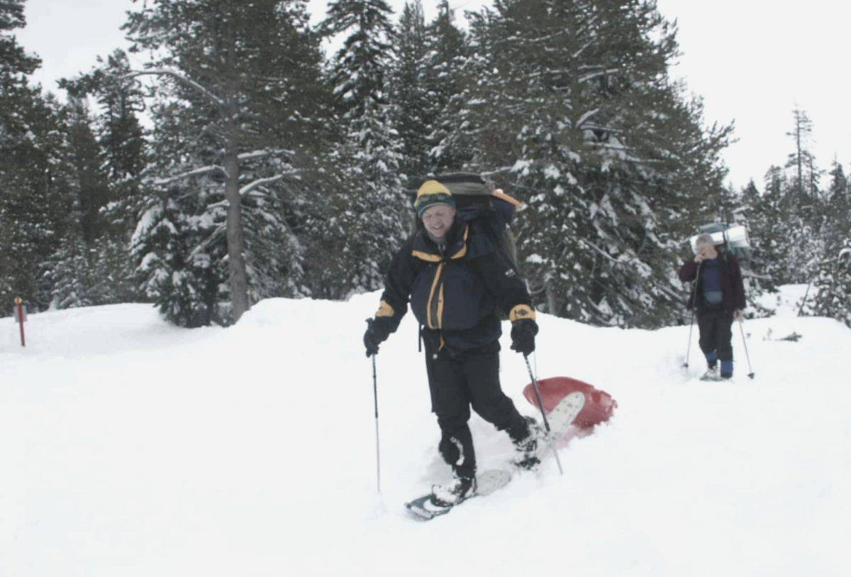 Backpacker Snowshoeing