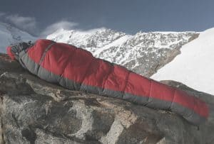 Sleeping Bag on rock in mountains
