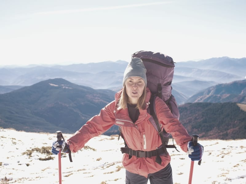 backpacker in cold weather gear