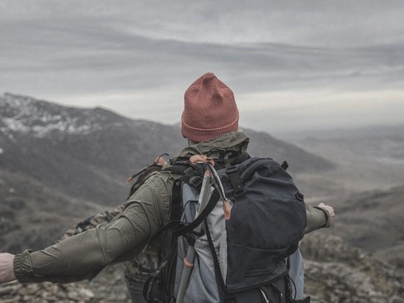 backpacker overlooking valley