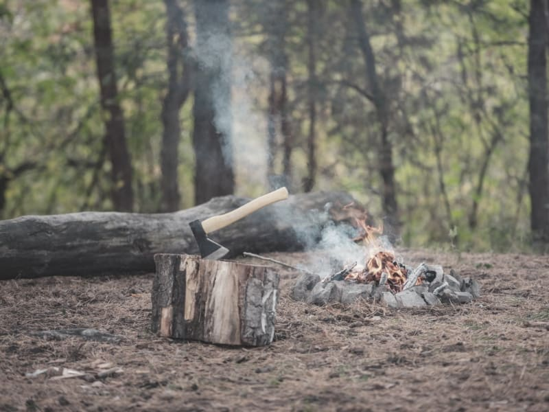 backpacking hatchet and campfire