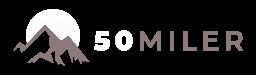 50 Miler Logo - Birds and Sun flying over a White Mountain next to 50 Miler Headline
